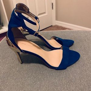 Zara Blue and Gold Heels